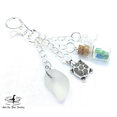Clear Loch Ness Sea Glass, Sea Glass Chips, Turtle and Initial Keyring