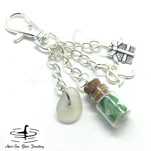Clear Loch Ness Sea Glass, Sea Glass Chips, Present and Initial Keyring