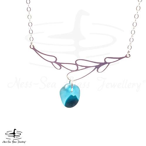 Blue Loch Ness Sea Glass Sterling Silver Branch Necklace