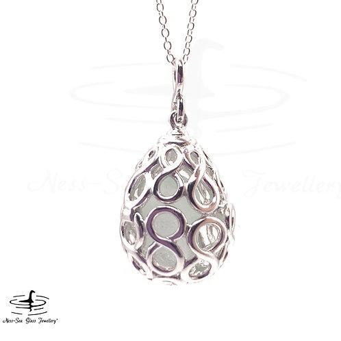 Loch Ness Sea Glass Sterling Silver Infinity Locket Necklace