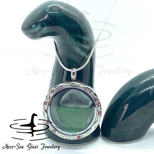 Loch Ness Sea Glass Pink Floating Locket & Sterling Silver Snake Chain