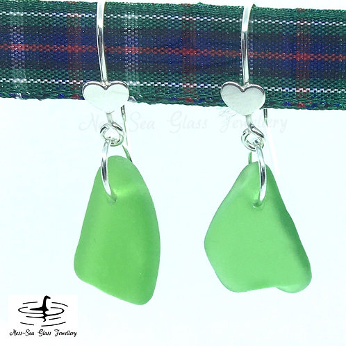 Green Loch Ness Sea Glass Sterling Silver Hook Heart Earrings