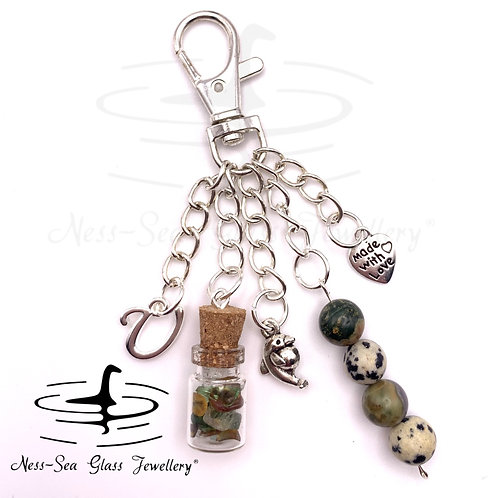 Personalised Loch Ness Sea Glass Chips, Dolphin Keyring / Bag Charm