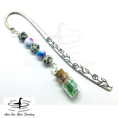 Flower Book Mark with Loch Ness Sea Glass Chips, Jasper & Jade Beads
