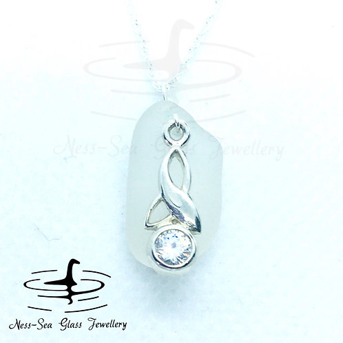 APRIL  -Clear Loch Ness Sea Glass Crystal Sterling Silver Celtic Trinity Knot
