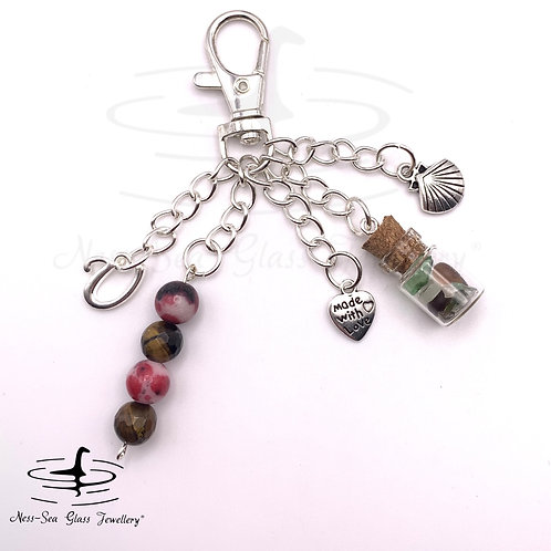 Personalised Loch Ness Sea Glass Chips, Shell Keyring / Bag Charm