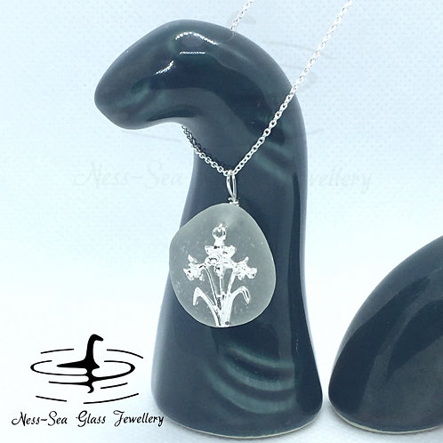 Clear Loch Ness Sea Glass with Sterling Silver Daffodil Flowers & Chain