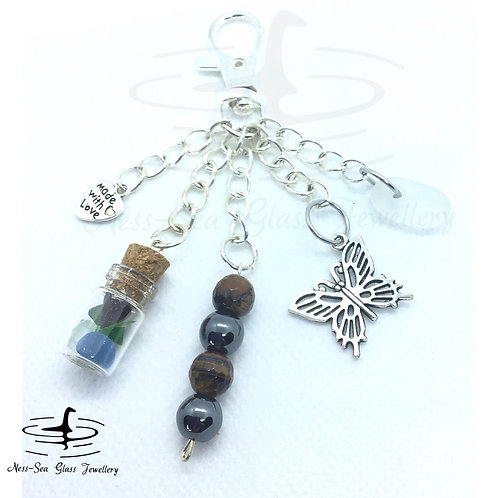 Clear Loch Ness Sea Glass, Sea Glass Chips, Butterfly Keyring