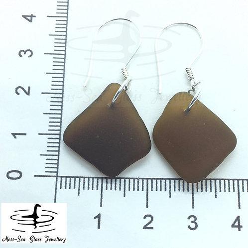 Brown Loch Ness Sea Glass Sterling Silver Hook Earrings