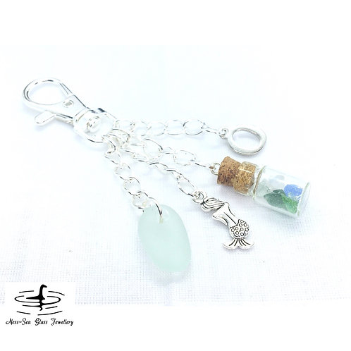 Blue Loch Ness Sea Glass, Sea Glass Chips, Mermaid and Initial Keyring