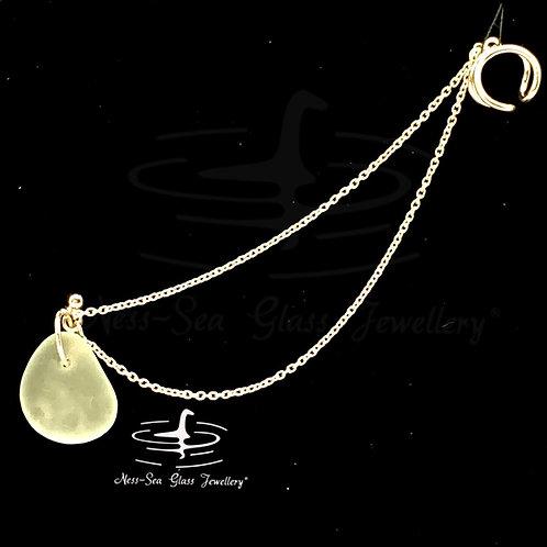 Clear Loch Ness Sea Glass Sterling Silver Ear Cuff & Chain