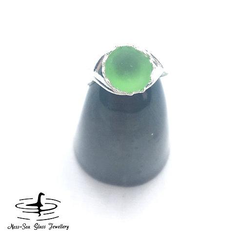 Green Loch Ness Sea Glass Sterling Silver Adjustable Ring