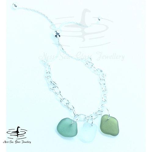 Green & Clear Loch Ness Sea Glass Sterling Silver Adjustable Bracelet