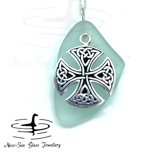 Blue Loch Ness Sea Glass with Sterling Silver Celtic Cross and Chain