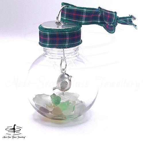 Mini Loch Ness Sea Glass Robin Christmas Bauble