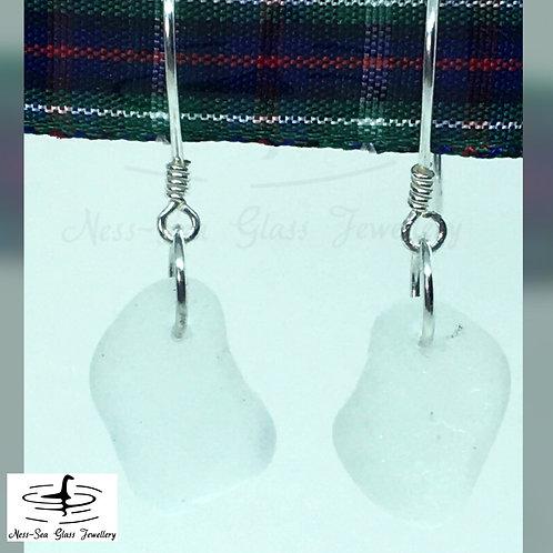Clear Loch Ness Sea Glass Sterling Silver Earrings
