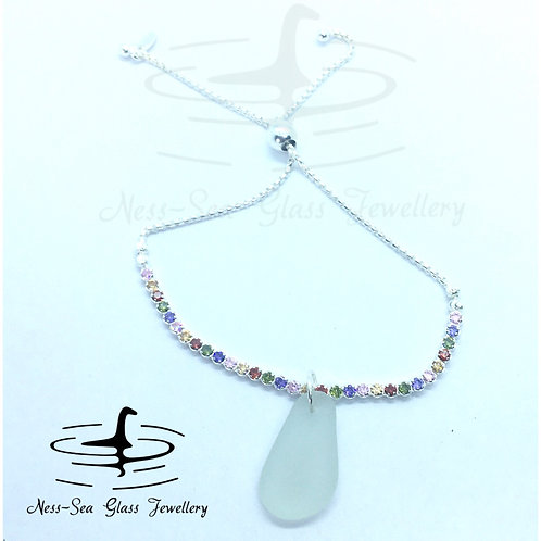 Clear Loch Ness Sea Glass Sterling Silver Adjustable Rainbow Bracelet