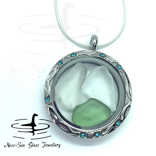 Loch Ness Sea Glass Blue Floating Locket & Sterling Silver Snake Chain