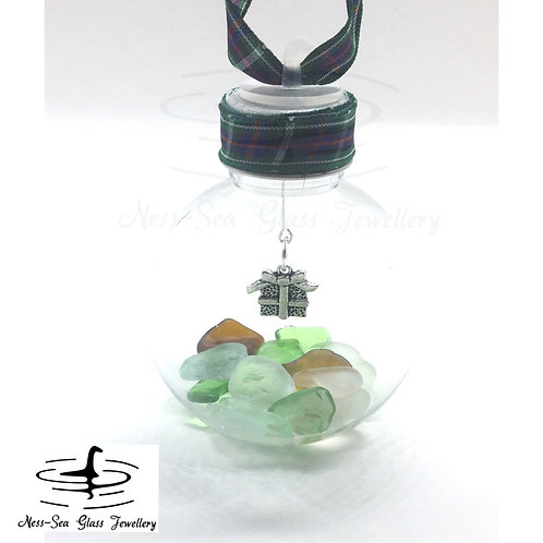 Loch Ness Sea Glass Present Christmas Bauble
