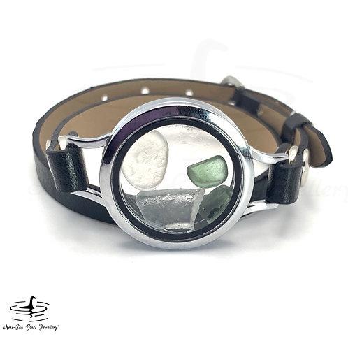 Loch Ness Sea Glass Floating Locket Double Wrap Faux Leather Bracelet