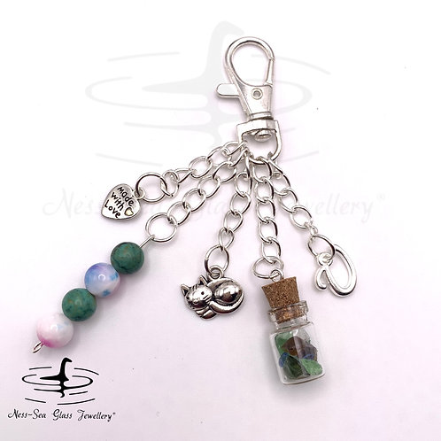 Personalised Loch Ness Sea Glass Chips, Cat Keyring / Bag Charm
