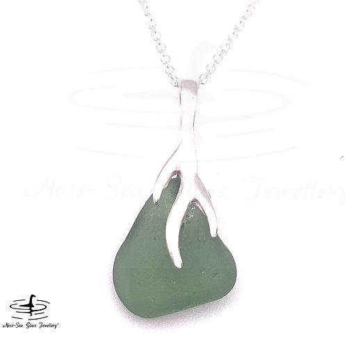 Green Loch Ness Sea Glass  Sterling Silver Branch Necklace