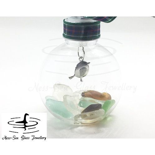 Loch Ness Sea Glass Robin Christmas Bauble