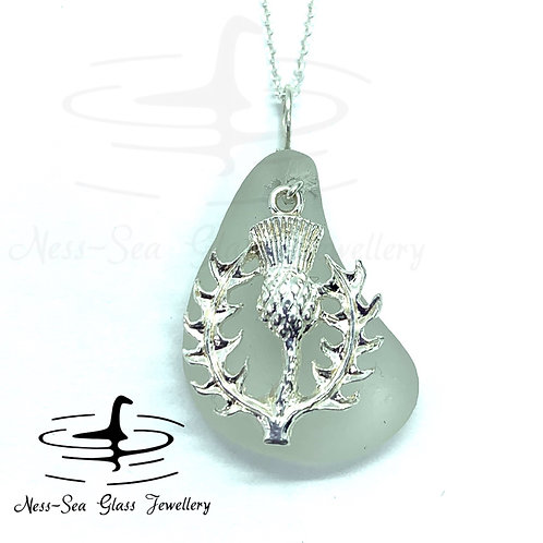 Clear Loch Ness Sea Glass with Sterling Silver Thistle and Chain