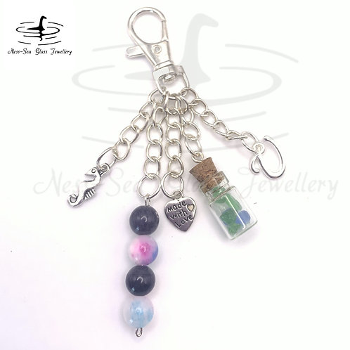Personalised Loch Ness Sea Glass Chips, Sea Horse Keyring / Bag Charm