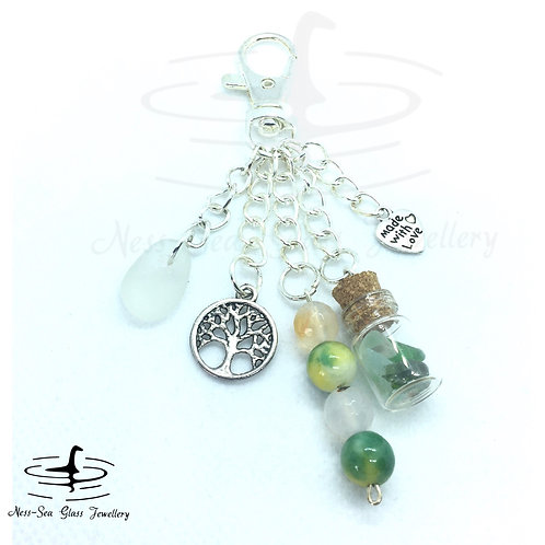 Clear Loch Ness Sea Glass, Sea Glass Chips, Tree of Life Keyring