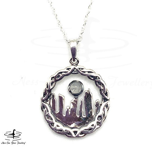 Outlander Inspired Standing Stones Silver Pendant with Moonstone