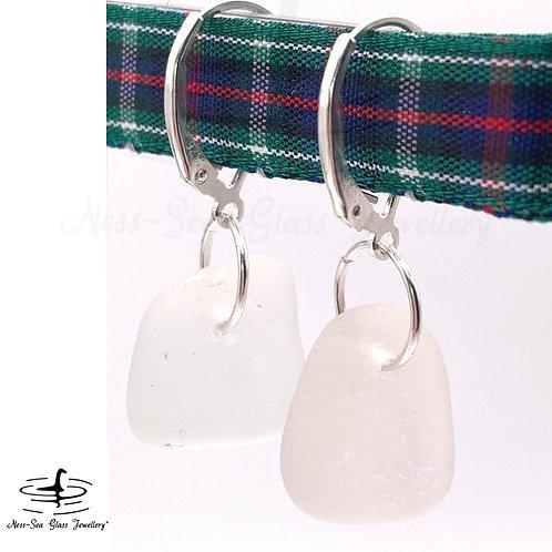 Clear Loch Ness Sea Glass Sterling Silver Lever Back Earrings