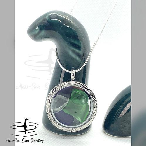 Loch Ness Sea Glass Clear Floating Locket & Sterling Silver Snake Chain