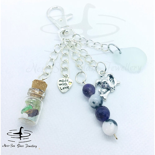 Clear Loch Ness Sea Glass, Sea Glass Chips, Dog Keyring