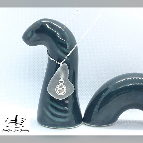 APRIL - Clear Loch Ness Sea Glass - Sterling Silver Crystal necklace
