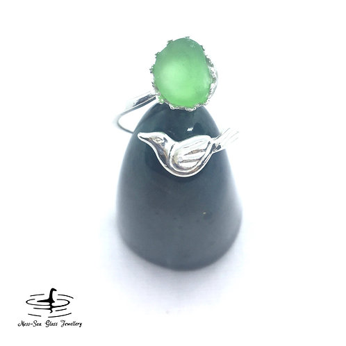 Green Loch Ness Sea Glass Sterling Silver Bird Adjustable Ring