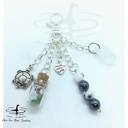 Clear Loch Ness Sea Glass, Sea Glass Chips, Turtle Keyring