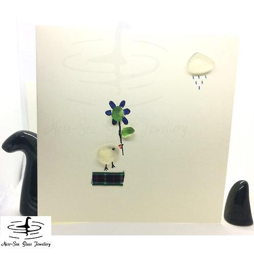 Loch Ness Sea Glass Bird, Flower and Cloud card
