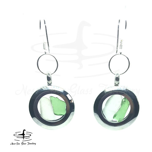 Loch Ness Sea Glass Floating Locket Sterling Silver Hook Earrings