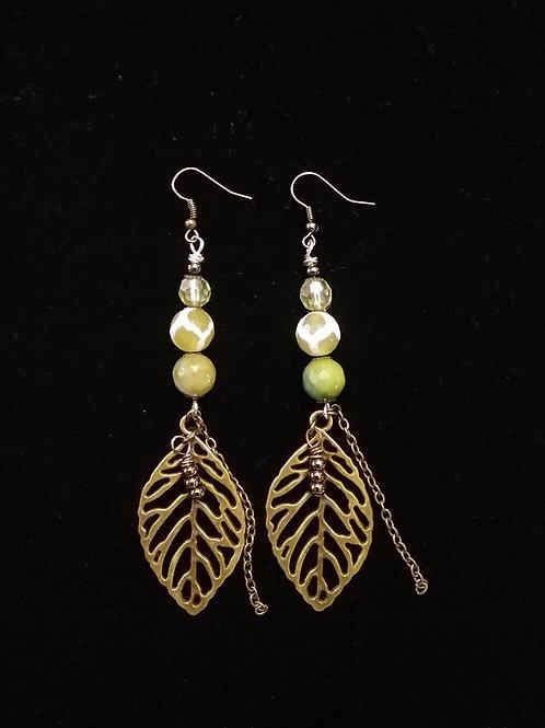 Green Agate and Leaf Earrings