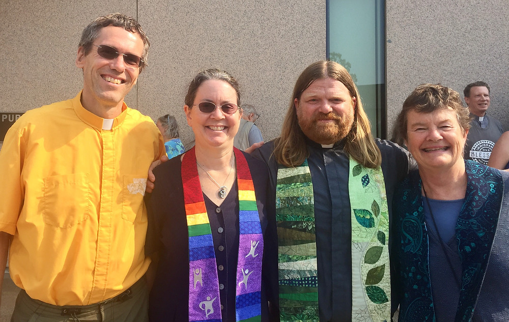 Included in the picture: Rev. Michael Leuchtenberger & Rev. Lyn Marshall of the UU Church in Concord, Rev. Chris Jablonski of South Church in Portsmouth, and Rev. Betsy Tabor of the UU Fellowship of the Eastern Slopes in Tamworth.