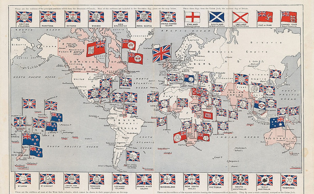 A map of British Territories during the peak of the Empire (1910)