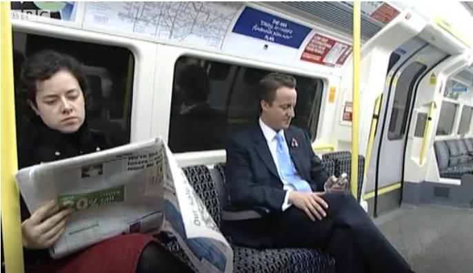 David Cameron Riding Tube