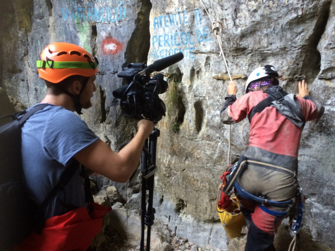 Filming for Der Spiegel in the deepest cave of Romania