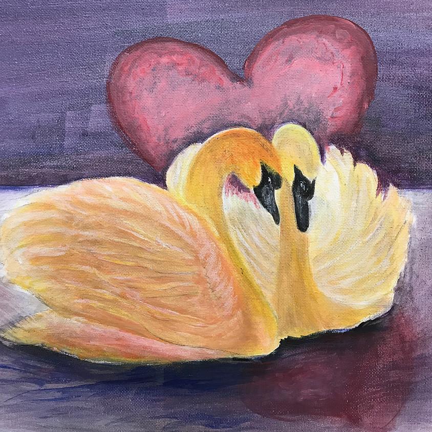 Paint & Sip Night: Swan in Love (Saturday Feb 15, 7pm-9:30pm)