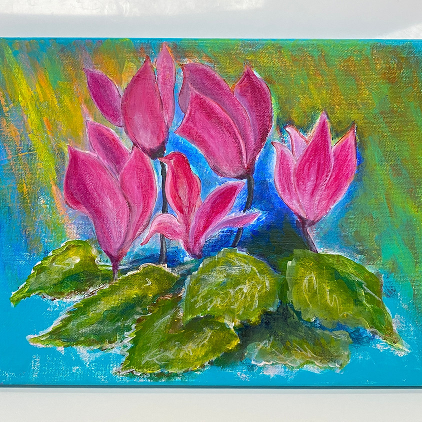 Painting Cyclamen in Acrylic