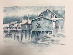Monotone Buildings - Watercolor