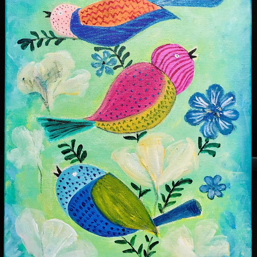Paint Night (via Zoom): Three Weird Birds
