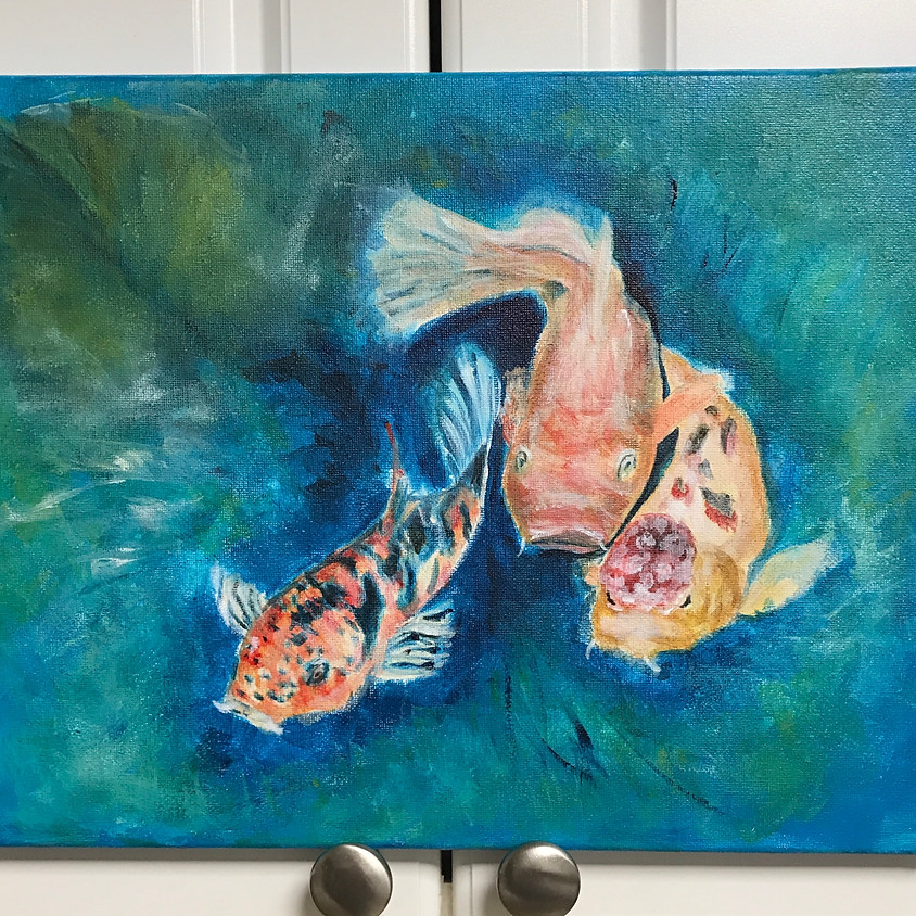 Paint & Sip Night: Koi Fish in Lily Pond (Friday Jan 24, 7pm-9:30pm)