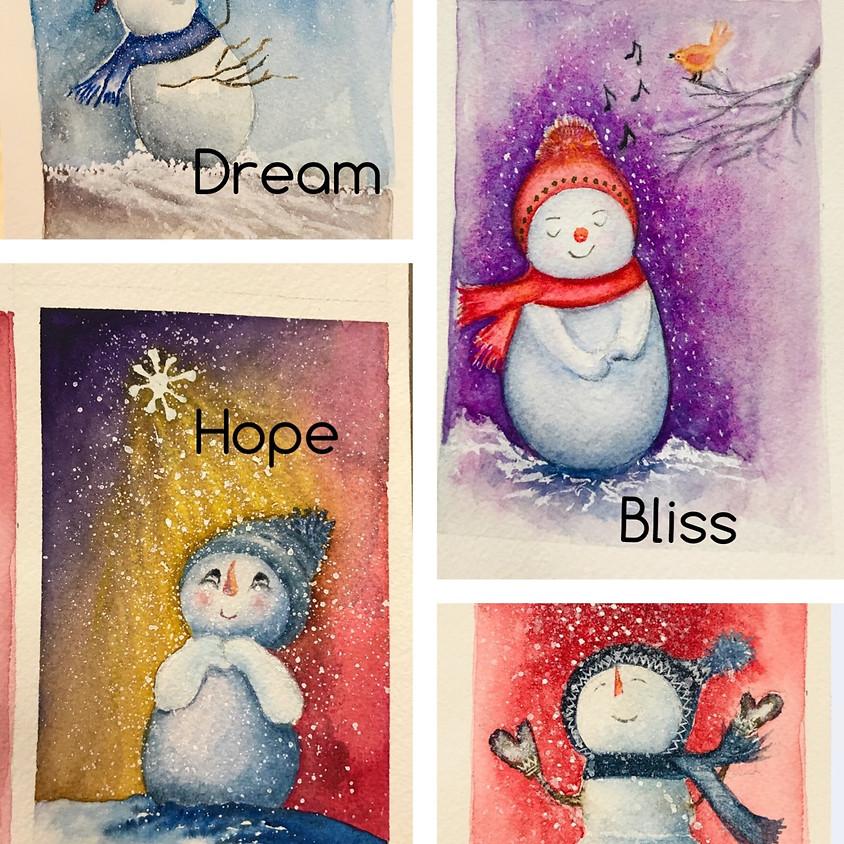 Christmas Card - Painted in watercolor (Incl. envelops)